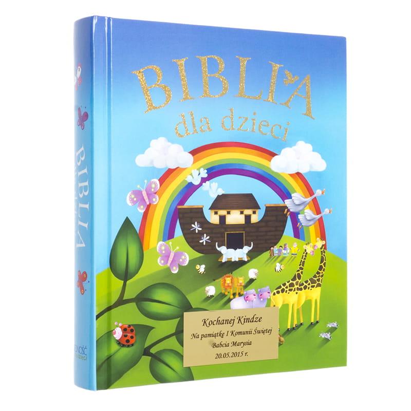 BIBLIA DLA DZIECI z grawerem NA CHRZEST, PIERWSZĄ KOMUNIĘ